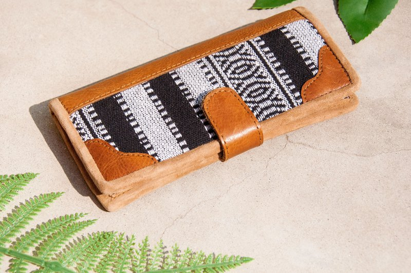 Leather wallet / woven stitching leather long clip / long wallet / purse / woven wallet - Moroccan desert