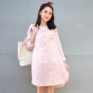 Embroidered plaid dress (powder)
