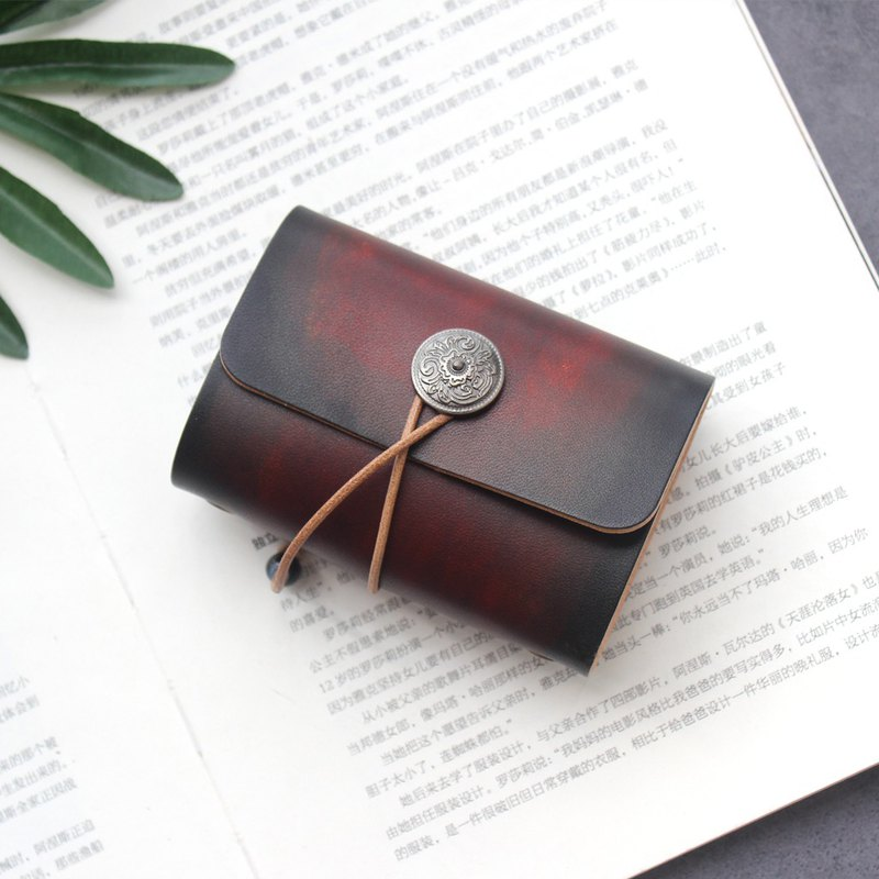 Red-brown dyeing 20 card position leather card holder vegetable tanned leather business card holder business card set can be customized