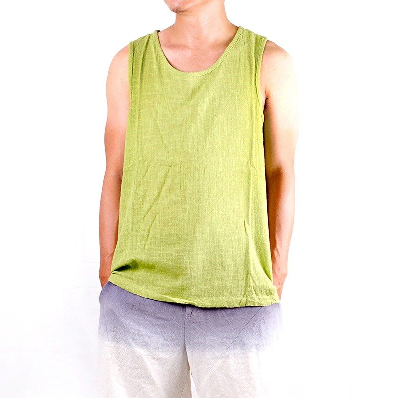 Calf Calf Village ├ original village Zhuangshan ┤ not comfortable, breathable cotton linen vest Wide green leaves under the sun {} emerald