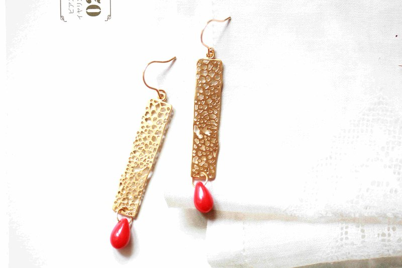 Gold hollow glass earrings │ red glass beads 14kgf can change the clip birthday gift hollow