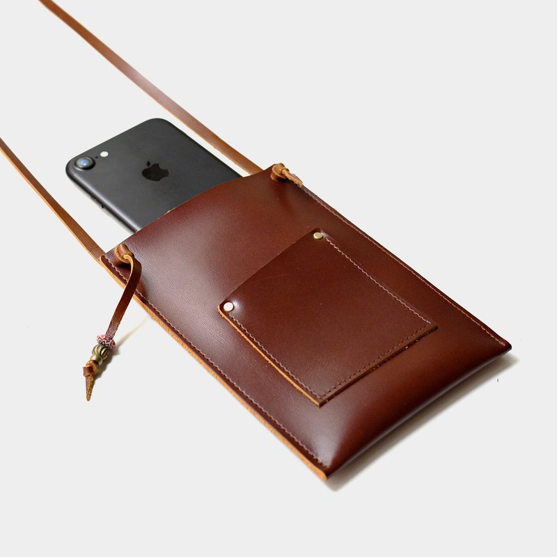 [Ali Hill on the phone booth] leather mobile phone bag hanging neck IPHONE6, 6s, 7 PLUS can put a leisure card, documents (red brown leather)
