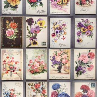 A full set of 16 French centenary flower replica postcards