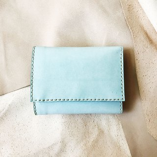 Edition style _ leather tri-fold short clip _ change bag _ Polaroid compartment _ waxy mint green