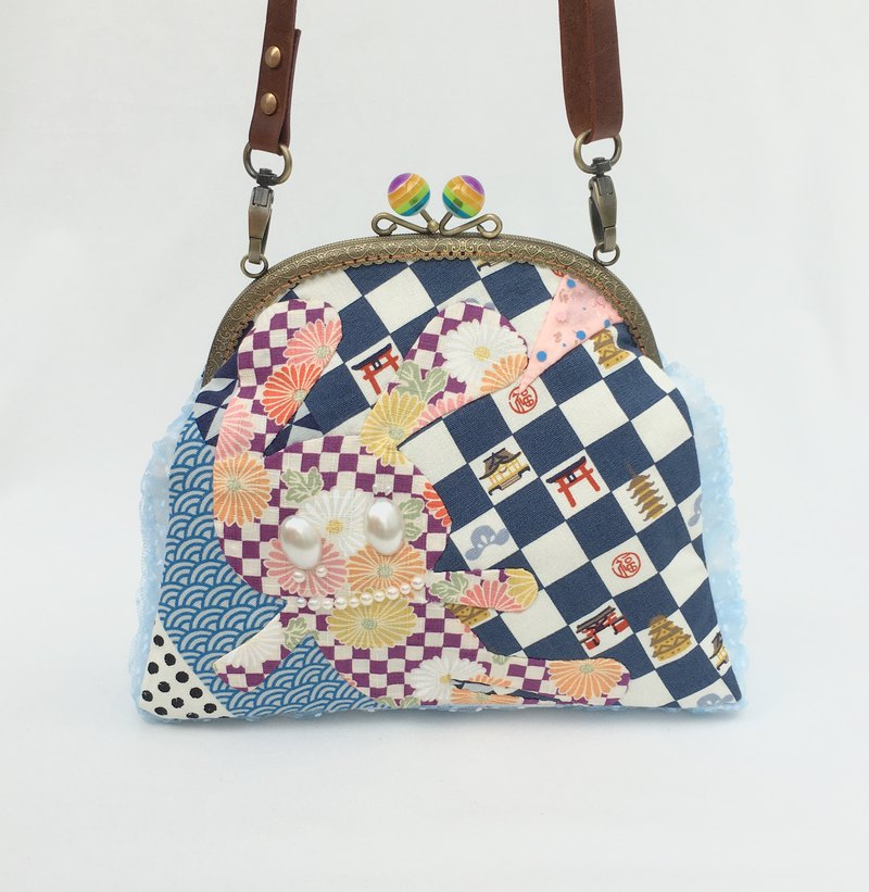 Traveling rabbit shoulder/crossbody bag with zipper plaid blue purple round
