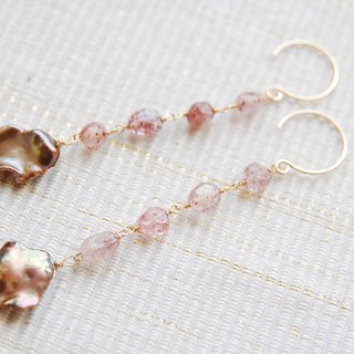 Lepidocrocite and brown poppy pearl earrings (14kgf)