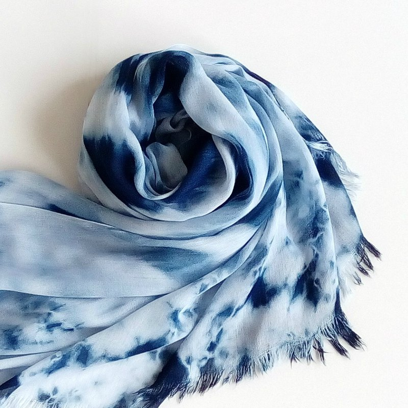 Hand dyed unique pattern silk scarf blue dyed scarves scarf hand dyed shawl soft natural limited