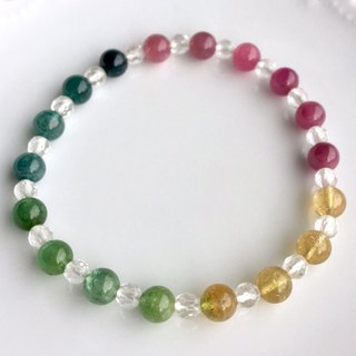 6mm candy color tourmaline bead bracelet
