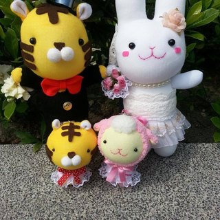 Happy bleating hand for Shop - Tiger doll wedding bride and groom + rabbit (1 pair)