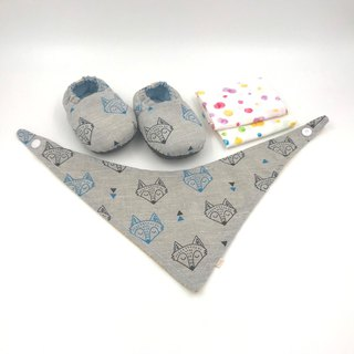Fox Head - Miyue Baby Gift Box (toddler shoes / baby shoes / baby shoes + 2 handkerchief + scarf)