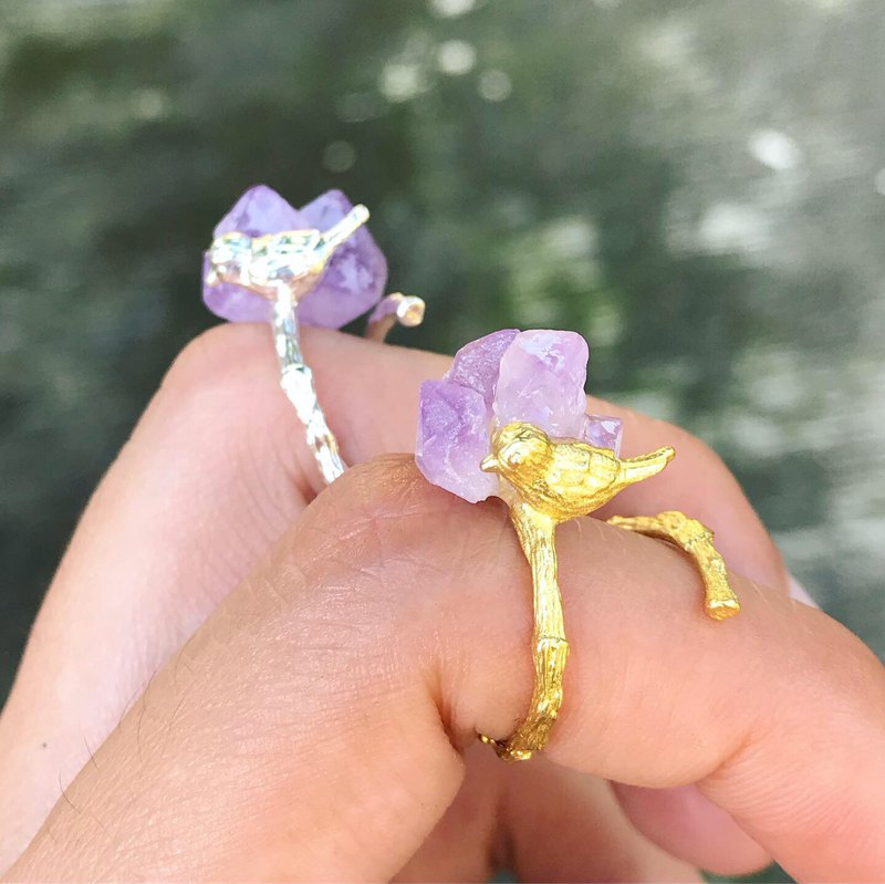 [Lost and find] Jane natural stone amethyst original stone bird ring