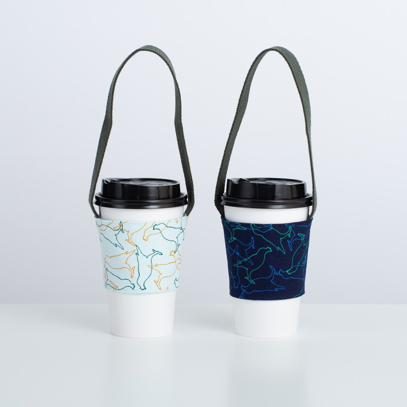 Take-Out Cup Holder(2pcs)/Crested Myna/Day Blue + Shadow Blue