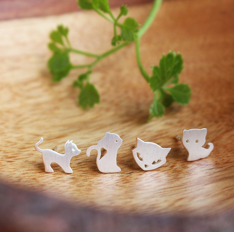 Goody Bag - Meaw Set - 4 pairs of Cat Silver Earrings / Handmade / 银耳环 / 猫