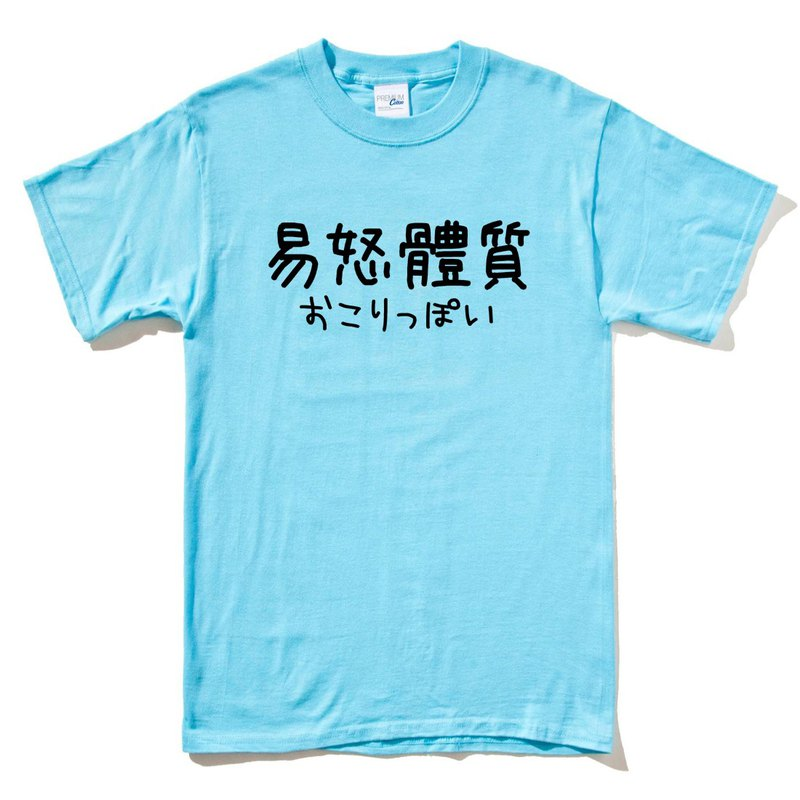 Japanese irritability constitution # 2 short-sleeved T-shirt water blue Chinese Japanese English Wenqing Chinese style