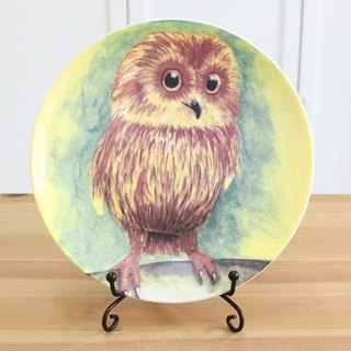 6.5 inch porcelain plate - owl / microwave / bone china / through SGS