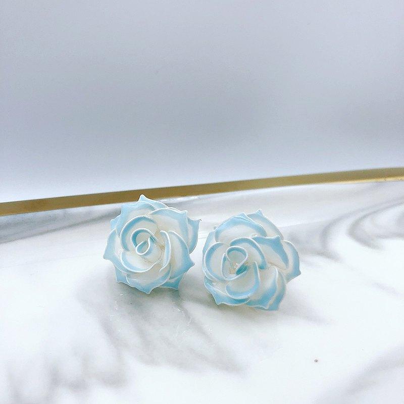 【玫瑰園系列-鑲邊款】水藍 樹脂耳環 蒔花 Blossom Time