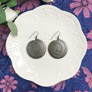 Bronze Carved Vintage Round Antique Earrings BLA073