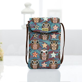 Videos night owl woven jacquard cell phone pocket blue -REORE