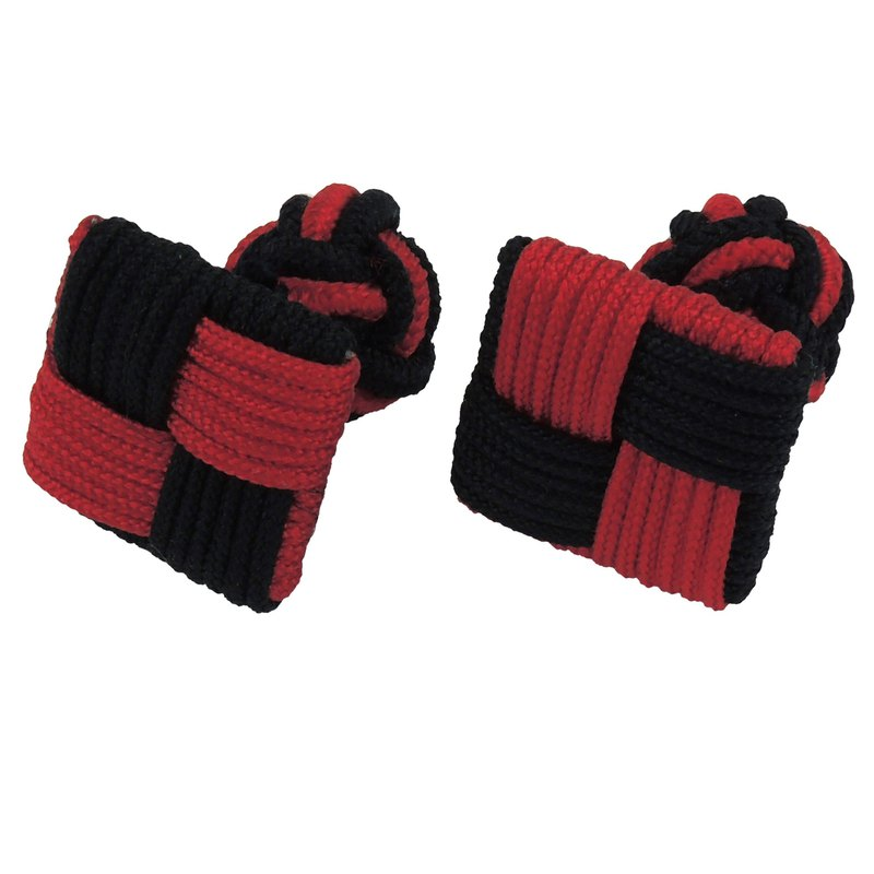 Black and Red Square Silk Knot Cufflinks
