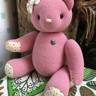 Handmade Teddy Bear Organic Cotton Pink 34cm Spot only one left