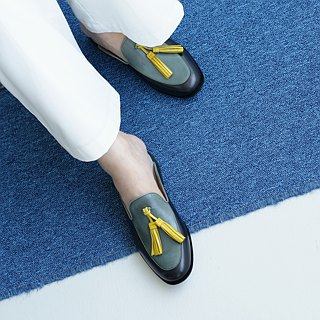 H THREE Fringe Lovers Slippers / Green Grey / Flat / tassel loafer slippers