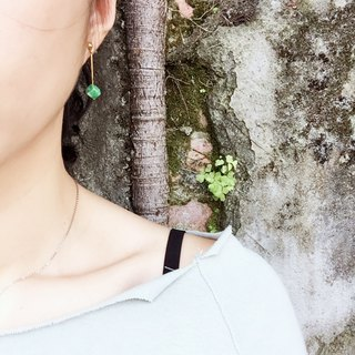Natural stone shake earrings small green grass can be free clip type