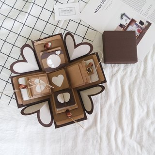 Gift Box Card - Caramel Macchiato X Deluxe Agency - Handmade Cards / Valentine Card / Blast Card / Explosion Box