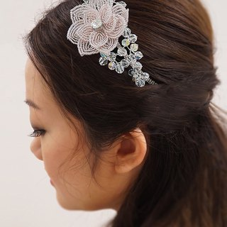 Handmade Bridal Headpiece | French Beaded Flower Headband with Swarovski Element