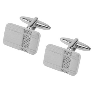 Brushed Silver Etched Texture Cufflinks