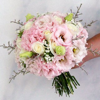 Blooming flowers-[Special combination] exquisite flower bouquet & brooch white powder B-PK03