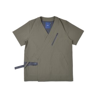 oqLiq - AdHeRe - Very Flat Open Short Sleeve Shirt (Army Green)