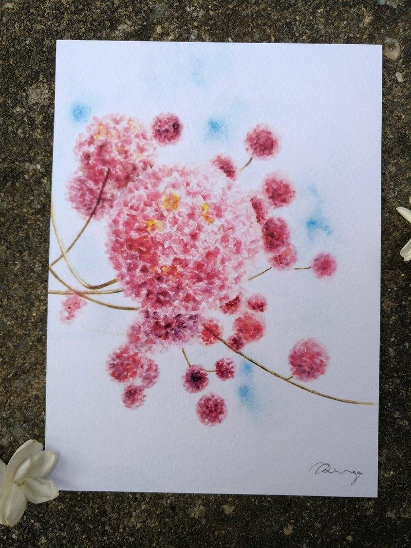 洋紅風鈴木 粉紅桃紅色盛開的花海 禮物 明信片 卡片 印刷品