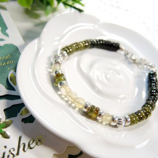 """Green Forest Green Forest"" simple and neat yellow crystal yellow green tourmaline 925 sterling silver bracelet"