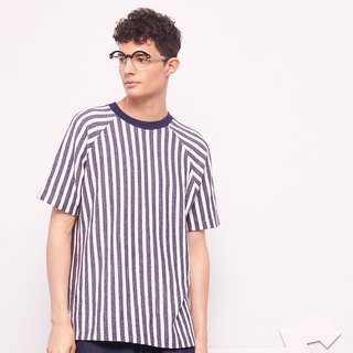 Stone@s Printed Stripes T-shirt / Straight Sleeve Blue