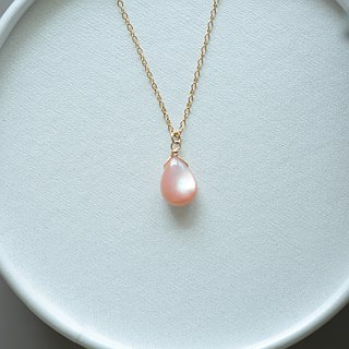 ::jiejie:: lovely pink Natural Powder Droplet 14KG Necklace