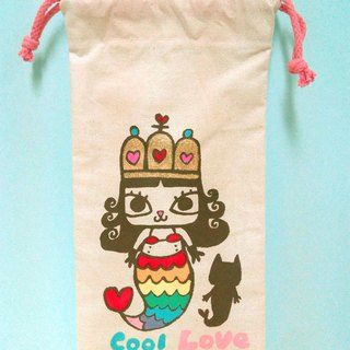People fishing cat princess hand-painted multi-purpose storage cable rope bag