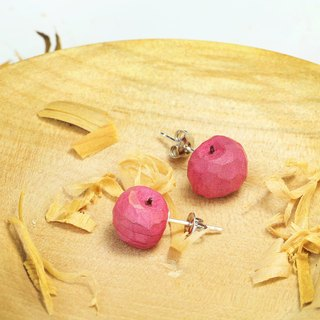 Cute wooden round apple earrings (needle type)--925 sterling silver--woodcut - handmade (can pick color)