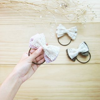 Handmade Bow with Lace Hair Bands Natural Dyed Cotton  / 6 pcs per 1 set