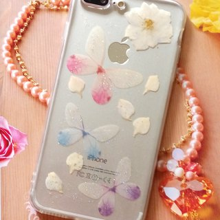 Pressed flowers phone case, Fit for iPhone 7 plus,iPhone 8 plus, Butterfly