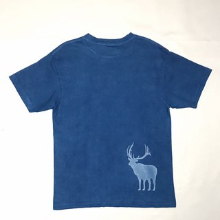 [Order production] Indigo dyed indigo - NEW MOON AND DEER TEE