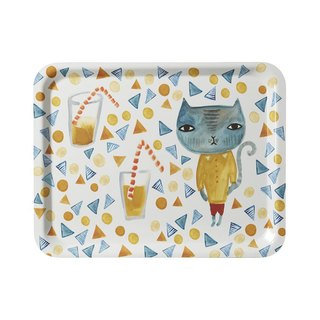 Cool cat hand-painted tray