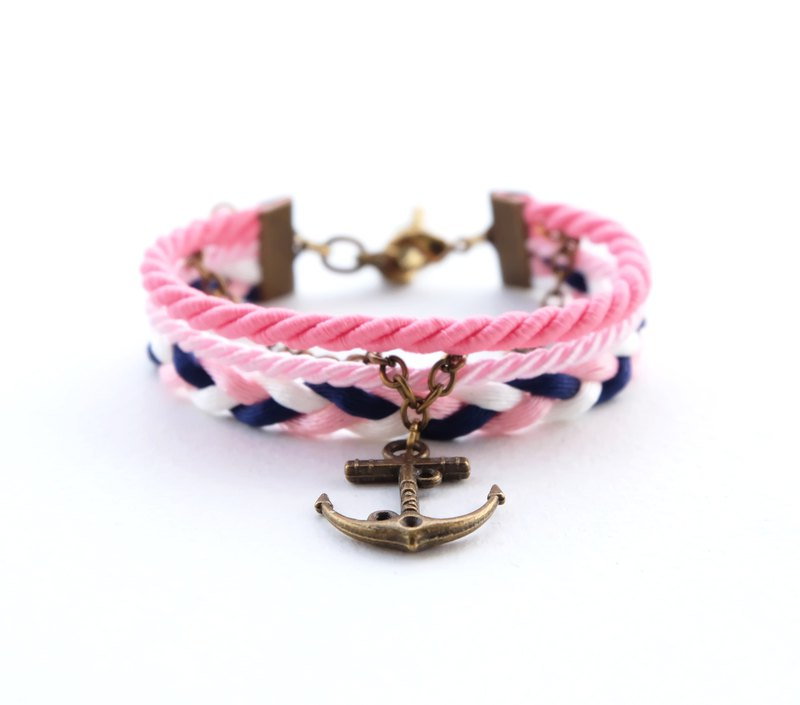 Anchor layered bracelet in matte pink / blush / white / navy blue