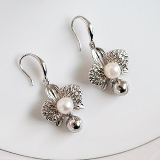 Silver Bell Orchid Beads Earrings 925 Sterling Silver