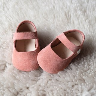 Baby Girl Shoes, Baby Moccasins, Peach Leather Mary Jane Shoes, Baby Shower