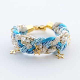 Sky blue cream braided bracelet golden stars