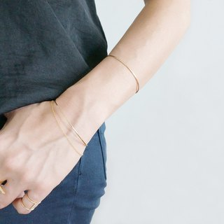 【14 KGF】 Hammered Open Wire Bangle