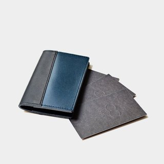 [Deep sea account book] vegetable tanned leather business card holder leather clip travel card clip black navy blue leather stitching Valentine's day gift custom lettering as a gift