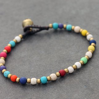 Colorful Candy Stone Vivid Color Brass Bracelets Basic Rainbow Bracelets