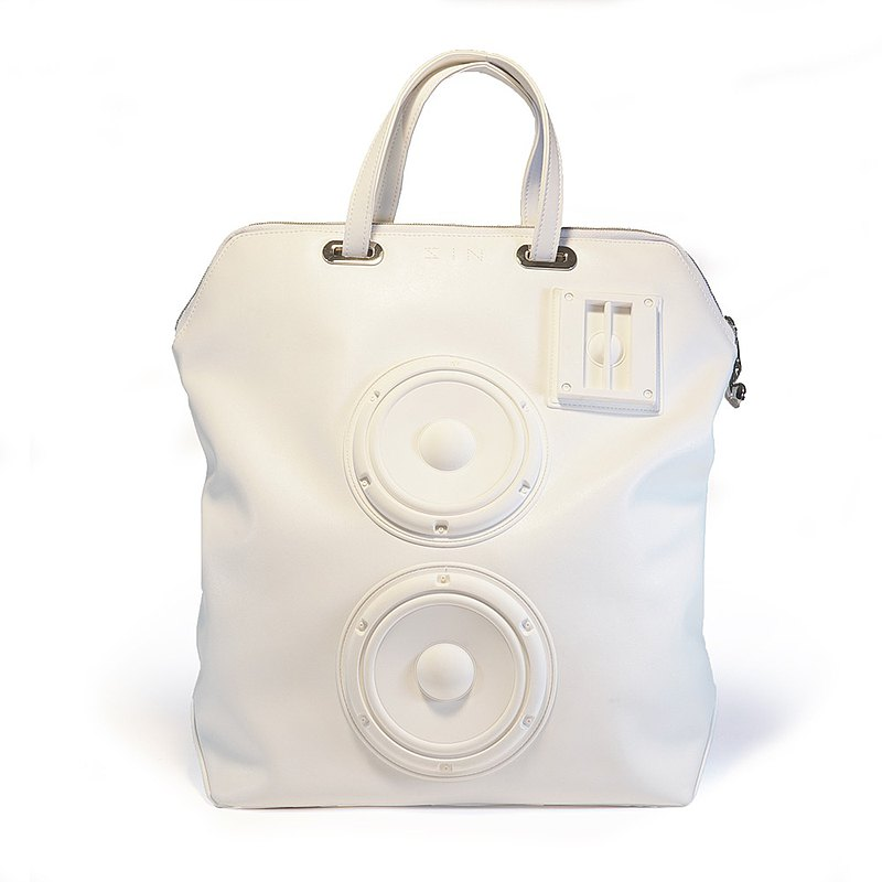 Speaker Convertible Backpack / white