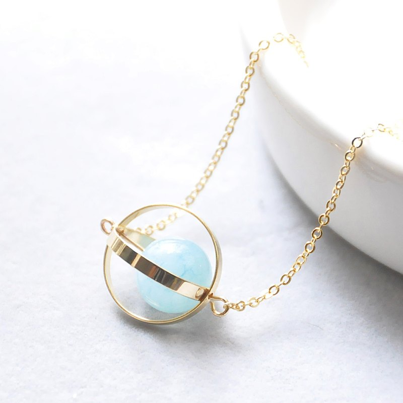Sea planet. universe. Golden Circle. Sea blue treasure. Necklace Ocean Blue Planet. Galaxy. Golden Ring. Aquamarine. Necklace. birthday present. Girlfriend gift. Sister gift